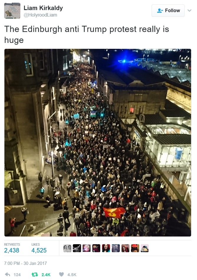 Tweet from Liam Kirkaldy with a photo of the march on Market St, Edinburgh, taken from above on North Bridge. It shows lots of people!